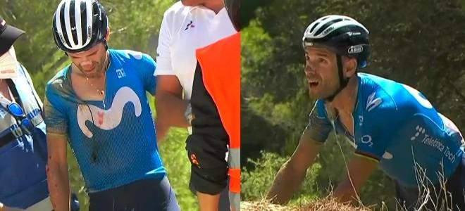 EN VIDEO: Egan y Supermán se sostienen en la Vuelta, que se quedó sin Valverde tras dura caída